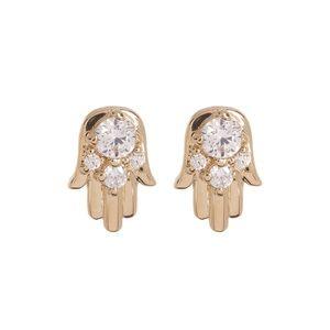 NADRI Hamsa Crystal CZ Small Stud Earrings